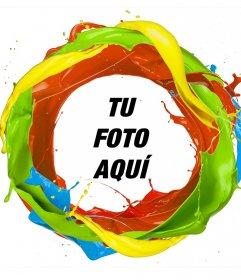 Marco de un círculo de pintura de colores donde puedes añadir tu foto