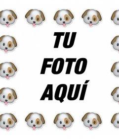 Rodéate del emoticono de perro con este marco para tus fotos