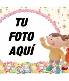 Amistoso marco para tus fotos con dos niños y adornos