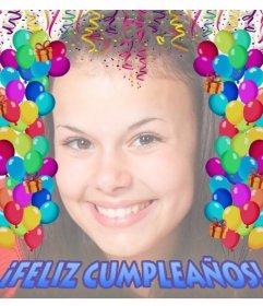 Pequeña tarjeta para celebrar un Feliz Cumpleaños con tus fotos y globos
