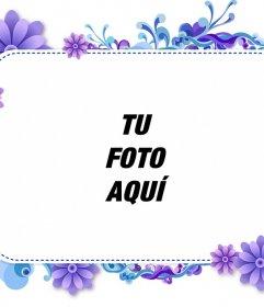 Marco para tu foto de flores violetas y azules