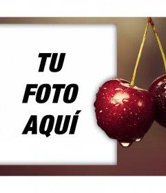 Marco con unas exquisitas cerezas para editar con cualquiera de tus fotos