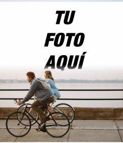 Fotomontaje en un paseo de bicicleta para colocar tu foto al horizonte