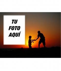 Felicitación para el día del padre de una postal de un padre pescando con su hijo