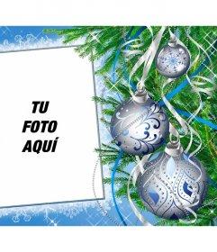 Marco de fotos para personalizar online decorado con un árbol de Navidad