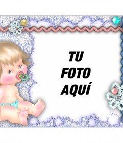 Marco de fotos con un bebé para personalizar con tu foto