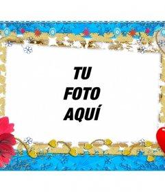 Marco de fotos online con corazones, estrellas y una flor