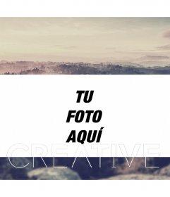 Marco para fotos con borde de nubes con la palabra CREATIVE en diferentes tipografias CREATIVE