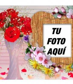 Marco para fotos con flores de colores