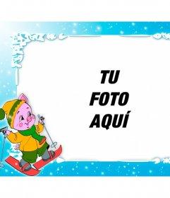 Marco de fotos personalizado con un cerdito esquiando, especial para niños