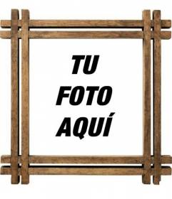 Marco para fotos con bordes de madera, para personalizar con tu foto
