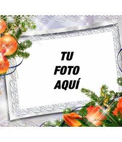 Marco de fotos para Navidad con bolas y flores naranja