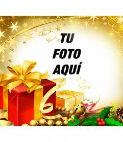 Marco de fotos para Navidad con regalos y brillos dorados