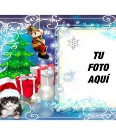 Marco de fotos de Navidad con varios regalos y un gatito