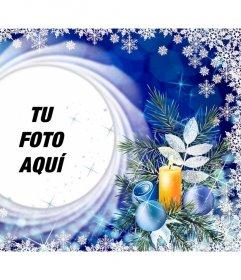 Tarjeta de Navidad con copos nieve para poner tu foto en un círculo