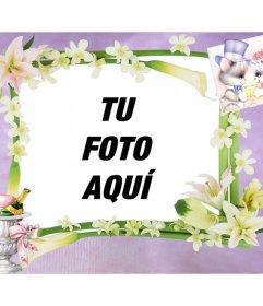 Marco de fotos para bodas en el que puedes añadir tu imagen gratis y online