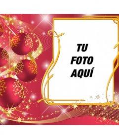 Marco de color rojo para poner tu foto con unas bolas de Navidad