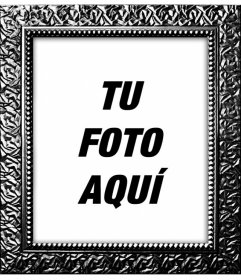 Marco para fotos digitales negro plateado con textura de cuadro real para decorar tus fotografías online