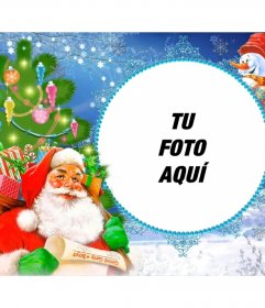 Marcos de fotos con Santa Claus cargado de regalos