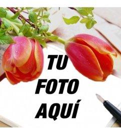 Marco para fotos rodeado de tulipanes rojos en el que podrás poner tu foto en un lienzo simulando una libreta unto con una pluma