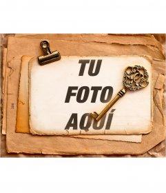 Marco estilo vintage para poner tus fotografías bajo una llave antigua