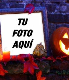 Marco de Halloween con una calabaza para tu foto