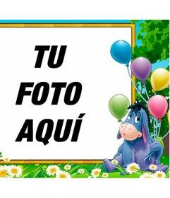 Celebra tu cumpleaños en tu foto con Igor, el burro de Winnie the Pooh con globos sobre ella