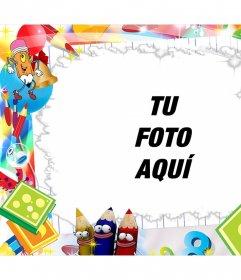 Marco editable infantil con dibujos simpáticos para agregar una foto