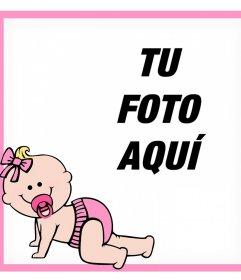 Marco rosa decorativo con una bebé donde puedes añadir tu foto