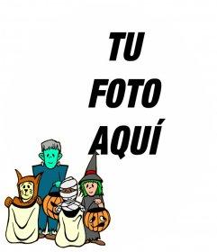 Marco para niños con personajes disfrazados de halloween