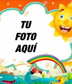 Marco de fotos infantil para poner tu foto con un sol y un arcoiris