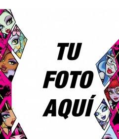 Marco infantil de Monster High con las protagonistas de la serie