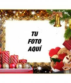 Marco de fotos de Navidad con cuatro velas y guirnaldas navideñas