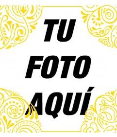Añade un marco dorado de estilo tribal en tus fotos gratis