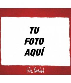 Sencillo marco para fotos de color rojo para felicitar la Navidad