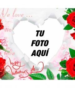 Marco romántico con rosas y un corazón para insertar tus fotos