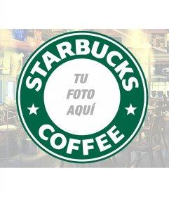 Marco del famoso logo de Starbucks Coffee, con un espacio circular para poner tus fotos