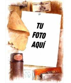 Marco para fotos estilo vintage, clásico.Pon tu foto de fondo en un marco con bordes desgastados