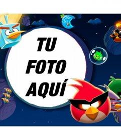 Marco de fotos infantil de Angry Birds en el espacio ambientado en el juego