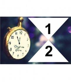 Collage para dos fotos de Navidad con un reloj antiguo