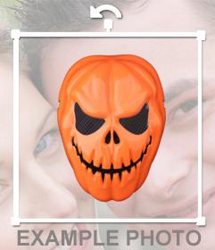 Máscara de calabaza para disfrazarte en tus fotos online
