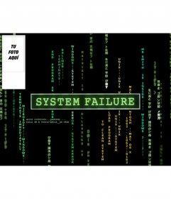 Fondo de pantalla para twitter de color negro con el texto de system failure estilo matrix. personalizable con tu imagen