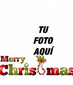 Pon el texto MERRY CHRISTMAS en colores verde y rojo muy navideños para poner con tu foto online