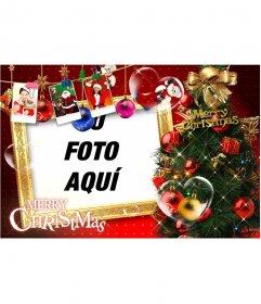 Preciosa postal de Navidad, con motivos navideños, regalos, fotografías de Santa Claus y regalos. Pare felicitaciones de Navidad con tu foto
