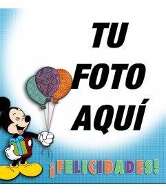 Tarjeta para felicitar con Mickey Mouse y unos globos de colores