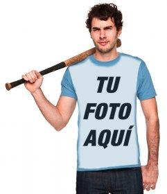 Foto montaje para poner tu imagen en una camiseta azul de un chico