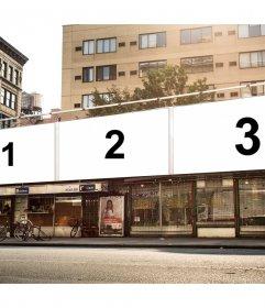 Collage urbano en Nueva York para tres fotografías