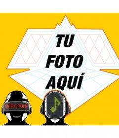 Marco de fotos alternativo con Daft Punk en dibujos bajo tu imagen