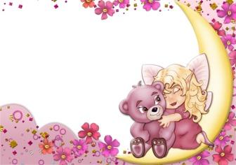 Postal para poner tu foto con un osito de color rosa y un angelito. Puede poner tu foto dentro del marco