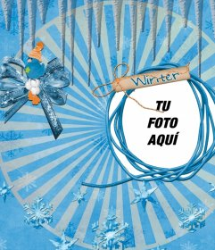 Marco de fotos de invierno para poner tu foto al lado de un pajarito azul